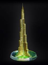Silver Sword Crystal Gold Plated Burj Khalifa Replica Model, 17.5 x 13 x 34cm, Multicolour