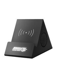 Silver Sword Wireless Charging Speaker, with Light Up Logo, Black