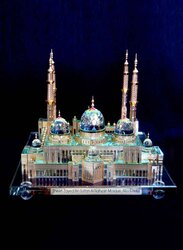 Silver Sword Crystal Gold Plated Sheikh Zayed Mosque Replica Model, 30 x 21 x 30cm, Multicolour