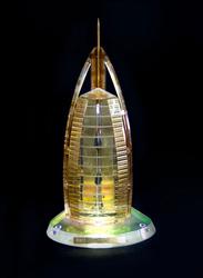 Silver Sword Crystal Gold Plated Burj Al Arab Replica Model, 14.9 x 14 x 28cm, Multicolour