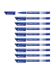 Stabilo 10-Piece Fineliner Sensor M Fountain Pen, 0.7mm, Blue