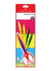 Faber-Castell 3 Cuts Craft Scissor, Orange/Green/Yellow