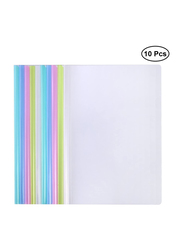 Nuobesty Plastic Transparent Smooth A4 Report Cover Files Folder Binder with Sliding Bar Office Stationary, 10 Pieces, Multicolour