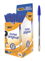 Bic 50-Piece Cristal Original Medium Point Ballpoint Pens Set, 1.0mm, Blue