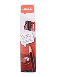Nataraj 12-Piece 621 Ruby Long Lasting HB Pencils with Sharpener and Eraser, Black/Red