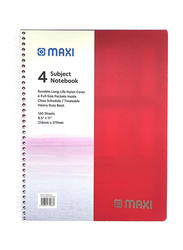 Maxi PP Spiral 4 Subject Notebook, 160 Sheets, 21.59 x 27.94cm, Red