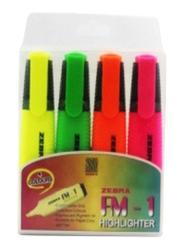 Zebra 4- Piece Text Highlighter, FM-1, Multicolor