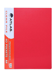 Atlas Clear File Presentation Book, A4-40 Pockets, ATCL007, Red