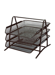 Generic 3-Tier Metal Paper Document Tray, Black