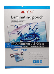 Unistar Laminating Pouch, A3 Size 125 Micron, Clear