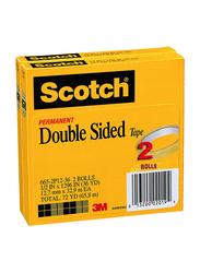 Scotch 665 Double Sided Tape, 12.7mm x 32.9m, 2 Rolls, Clear