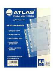 Atlas A4 Glass Clear Pocket Protector Box, 80 Micron, 100 Pieces, Clear