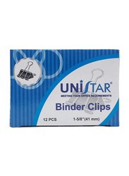 Unistar Binder Clips, 41mm, 12 Pieces, Black