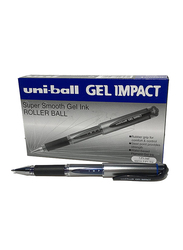 Uniball 12-Piece Signo Impact Gel Pens with Rubber Grip, 1.0mm, Blue