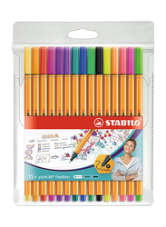 Stabilo 15-Piece Point 88 Fineliner Pen Set, Multicolor