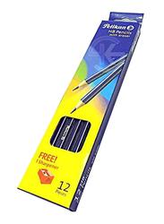 Pelikan 12-Piece HB Pencils with Eraser, Black/Silver
