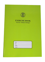 Sadaf A4 Size Four Line Exercise Book, 70 Sheets, Green