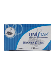 Unistar Binder Clips, 12 Piece, Black/Silver