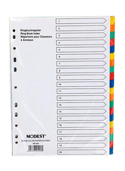 Modest Paper Divider, A4 1-20 Color, Ms303, 10 Sets, Multicolour