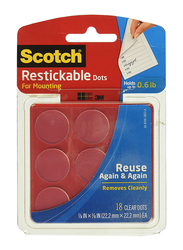 Scotch Restickable Mounting Dots, 18-Piece, Clear