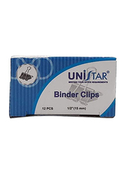 Unistar 12-Pieces Binder Clips Set, Black