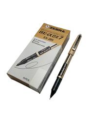 Zebra 10-Piece DX-7 Needle Point Rollerball Pen Set, 0.7mm, EX-JB5, Black