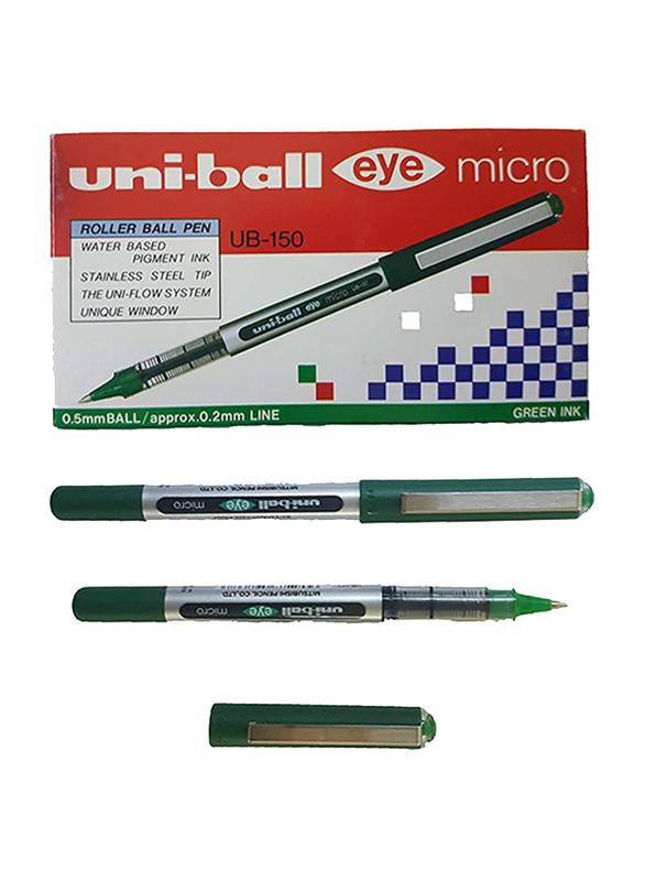 Uniball 12-Piece Eye Micro Rollerball Pen Set, 0.5mm, MI-UB150-GN, Green