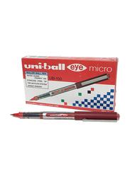 Uniball 12-Piece Eye Micro Roller Pen Set, 0.5 mm, UB150, Red