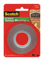 Scotch 411P Outdoor Mounting Tape, 1 in x 5 ft., Grey