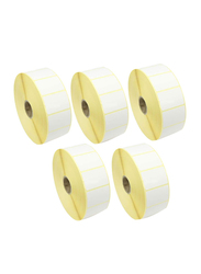 US Premify Thermal Labels and Barcode Stickers, 38 X 25mm, 5 Rolls x 1000 Pieces, White