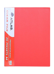 Atlas Clear File Presentation Book, A4-20 Pockets, ATCL001, Red