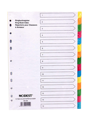 Modest Paper Divider A4 1-15 Color with Number, Ms408, 10 sets, Multicolour