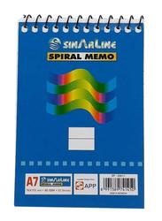 Sinarline SP 037013 Spiral Memo, 7.6 x 11.2cm, 50 Sheets, 12 Pieces, A7 Size, Blue