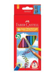 Faber-Castell 10-Piece Jumbo Grip Colour Pencil Set with Sharpener, Multicolour