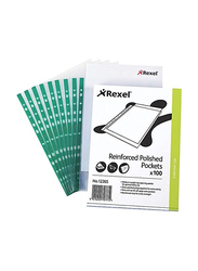 Rexel CKP Pocket Reinforced Green Strip Top-opening A4, 100 Pieces, Glass Clear