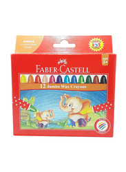 Faber-Castell 12-Piece Jumbo Round Wax Crayons, Multicolor