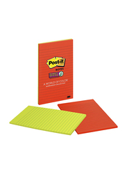 3M Post-it Lined Super Sticky Notes, 5 inch x 8 inch, Marrakesh Collection, 2 Pads, Multicolor