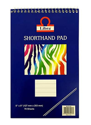 Libra TCOS-ST04B Top Spiral Portable Interpretation Shorthand Note Pad, 5 x 8 inch, Pack of 12 x 70 Sheets, White