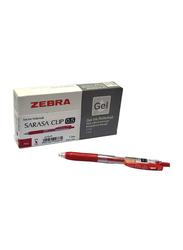 Zebra 12-Piece Sarasa Clip Gel Ink Rollerball Pen, 0.5mm, Red
