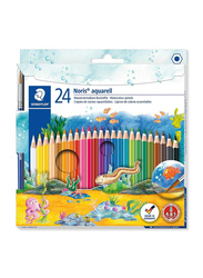 Staedtler 24-Piece Noris Club Aquarell Watercolour Pencils Plus Paint Brush, 144 10NC24, Multicolour