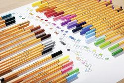 Stabilo 6-Piece Fineliner Rollerball Pen, 0.4mm, Multicolor