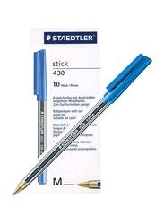 Staedtler 10-Piece Stick 430 M Ball Pen Set, Blue