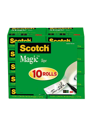 Scotch Brand Magic Tape with Dispenser, Writeable, Matte Finish, Engineered for Office and Home Use, 10 Rolls, Transparent