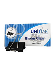 Unistar Binder Clips, 32mm, 12 Pieces, Black/Silver