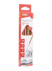 Deli U505 HB Graphite Pencil with Eraser, 12 Pieces, Brown