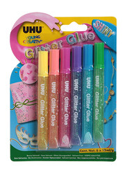 UHU Glitter Glue Set, 6 x 10ml, Multicolor