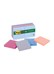 Post-it Recycled Notes In Bali Colors, 3 x 3 inches, 12 Pack, 90-Sheet, 654-12SSNRP, Multicolor