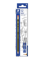 Staedtler 12-Piece Noris 122 HBA 2 Pencils Set, with Rubber Tip, Multicolor