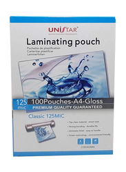 Unistar Laminating Pouch, A4 Size, 125 Mic, 100 Pieces, Clear