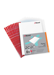 Rexel NPR/A4L Reinforced Pockets Embossed Side Opening, 100 Pieces, 12253, Clear/Red